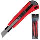 Нож универсальный LACO (ЛАКО, Германия), 18 мм, автофиксатор, цвет корпуса красно-черный, + 2 лезвия