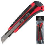 Нож универсальный LACO (ЛАКО, Германия), 18 мм, автофиксатор, цвет корпуса красно-черный, с резиновой вставкой, + 2 лезвия