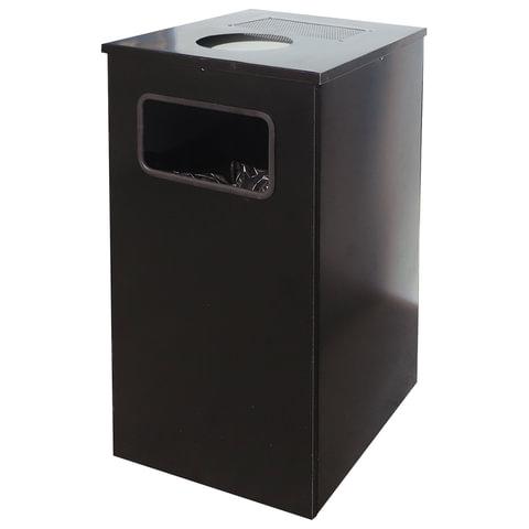 Урна металлическая уличная, 670×356×356 мм, 80 литров, цвет черный, «Квадро-11»