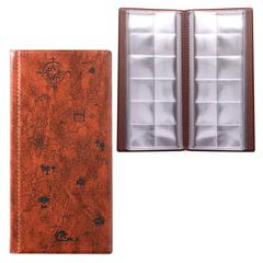 Альбом для монет или купюр, 105×223 мм, на 72 монеты D до 30 мм, выдвижные карманы, коричневый, «ДПС»