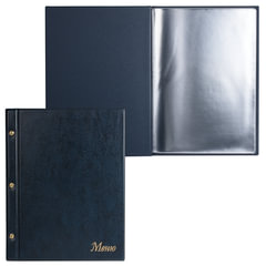 Папка «Меню» на трех винтах, с 10 файлами, 220×320 мм, синяя, «ДПС»