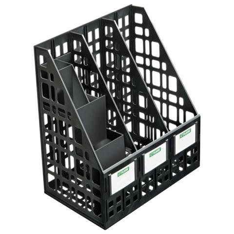 Лоток вертикальный для бумаг СТАММ с органайзером, ширина 240 мм, 3 отделения, сетчатый, сборный, черный