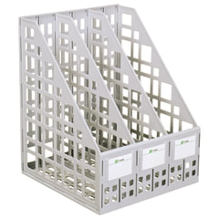 Лоток вертикальный для бумаг СТАММ, ширина 240 мм, 3 отделения, сетчатый, сборный, серый
