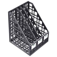 Лоток вертикальный для бумаг СТАММ, ширина 240 мм, 4 отделения, сетчатый, сборный, черный