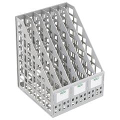 Лоток вертикальный для бумаг СТАММ, ширина 240 мм, 6 отделений, сетчатый, сборный, серый