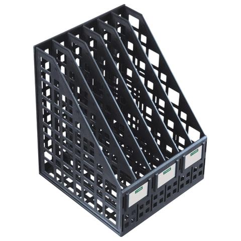Лоток вертикальный для бумаг СТАММ, ширина 240 мм, 6 отделений, сетчатый, сборный, черный