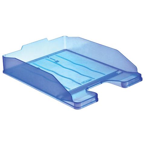 Лоток горизонтальный для бумаг СТАММ «Эксперт», тонированный голубой