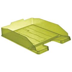 Лоток горизонтальный для бумаг СТАММ «Эксперт», тонированный зеленый (лайм)