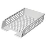 Лоток горизонтальный для бумаг СТАММ с пазами, сетчатый, серый