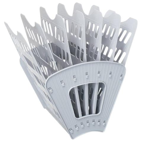 Лоток для бумаг СТАММ, 7-ми секционный, 6 отделений, серый