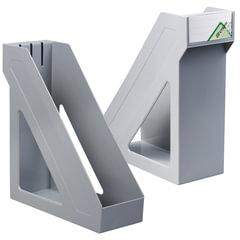 Лоток вертикальный для бумаг СТАММ «Базис», ширина 100 мм, серый