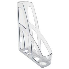Лоток вертикальный для бумаг СТАММ «Лидер», ширина 75 мм, прозрачный