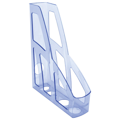 """Лоток вертикальный для бумаг СТАММ """"Лидер"""", ширина 75 мм, тонированный голубой"""