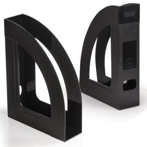 Лоток вертикальный для бумаг СТАММ «Респект-эконом», ширина 70 мм, полипропилен, черный