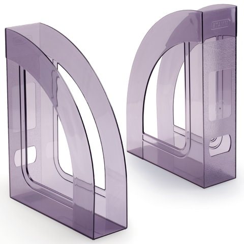 Лоток вертикальный для бумаг СТАММ «Респект», ширина 70 мм, тонированный серый