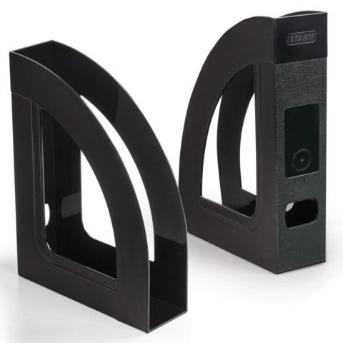 Лоток вертикальный для бумаг СТАММ «Респект», ширина 70 мм, черный
