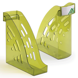 Лоток вертикальный для бумаг СТАММ «Торнадо», ширина 95 мм, тонированный зеленый лайм