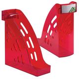 Лоток вертикальный для бумаг СТАММ «Торнадо», ширина 95 мм, тонированный темно-красный (вишня)