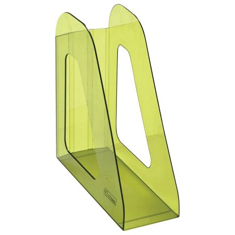 """Лоток вертикальный для бумаг СТАММ """"Фаворит"""", ширина 90 мм, тонированный зеленый лайм"""