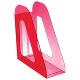 Лоток вертикальный для бумаг СТАММ «Фаворит», ширина 90 мм, тонированный темно-красный (вишня)