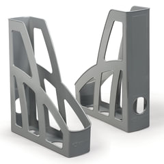 Лотки вертикальные для бумаг СТАММ, набор 2 шт., «Лидер», ширина 75 мм, серые