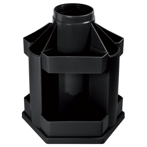 "Подставка-органайзер СТАММ ""Maxi Desk"", вращающаяся, 120х140х175 мм, 10 отделений, черная"