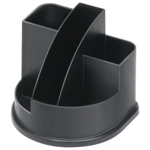 Подставка-органайзер СТАММ «Авангард», 132×122×108 мм, 5 отделений, черная