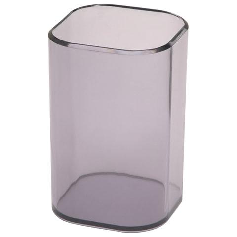 """Подставка-органайзер СТАММ """"Визит"""" (стакан для ручек), 70х70х100 мм, тонированная серая"""