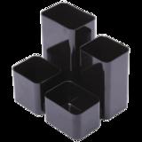 Подставка-органайзер СТАММ «Юниор», 86×108×102 мм, 4 отделения, черная