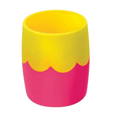 Подставка-органайзер СТАММ (стакан для ручек), розово-желтая, непрозрачная
