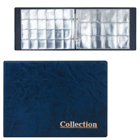 Альбом для монет на 2-х кольцах, 240х175х27 мм, для 180 монет, 5+5 листов (карманы 33х37 мм+50х50 мм)