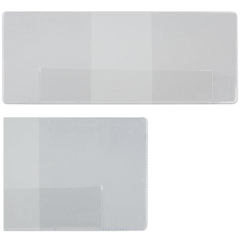 Обложка для удостоверения, ПВХ, 83х216 мм, прозрачная, ДПС