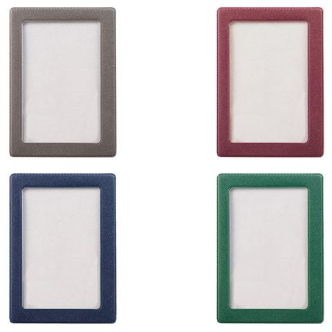 Обложка-карман для проездных документов, ПВХ, в цветной рамке, ассорти, 75х105 мм, ДПС