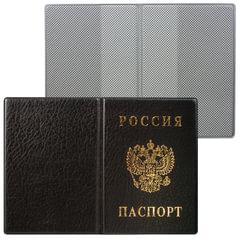 Обложка для паспорта России, вертикальная, ПВХ, цвет черный, «ДПС»