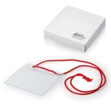 Бейджи, комплект 10 шт., ПВХ, 105×93 мм, горизонтальные, на красном шнурке 44 см, «ДПС»