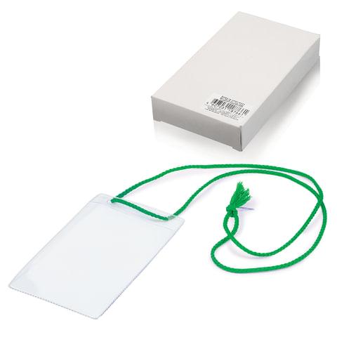 Бейджи, комплект 10 шт., ПВХ, 123×79 мм, вертикальные, на зеленом шнурке 44 см, «ДПС»