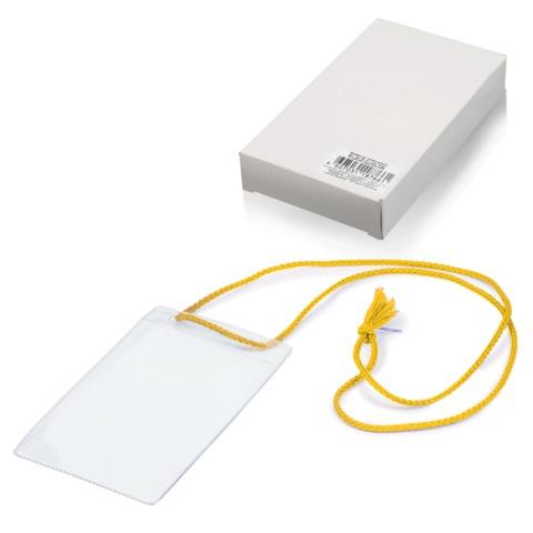Бейджи, комплект 10 шт., ПВХ, 123×79 мм, вертикальные, на желтом шнурке 44 см, «ДПС»