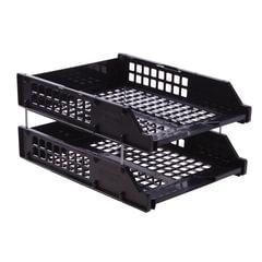 Лотки горизонтальные для бумаг СТАММ, набор 2 шт., «Strong», на металлических стержнях 6 см, черные