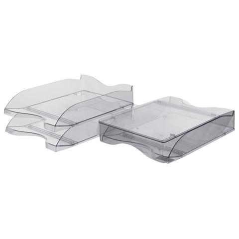 Лотки горизонтальные для бумаг СТАММ, набор 2 шт., «Люкс», тонированные серые