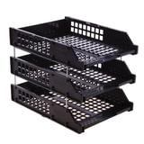 Лотки горизонтальные для бумаг СТАММ, набор 3 шт., «Strong», на металлических стержнях 6 см, черные