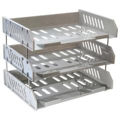 Лотки горизонтальные для бумаг СТАММ, набор 3 шт., «Сити», поперечные, на металлических стержнях 6 см, серые