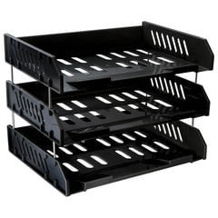 Лотки горизонтальные для бумаг СТАММ, набор 3 шт., «Сити», поперечные, на металлических стержнях 6 см, черные