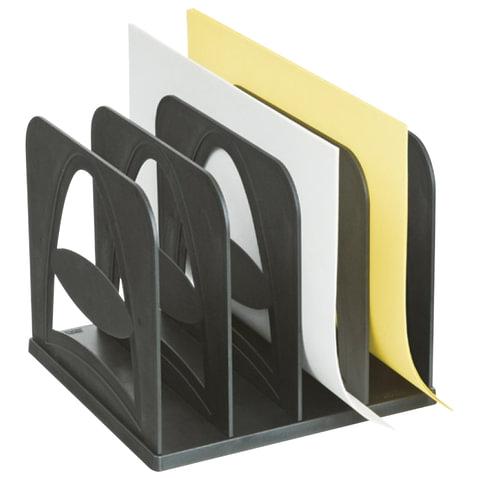 Лоток-сортер для бумаг СТАММ, 4 отделения, сборный, черный