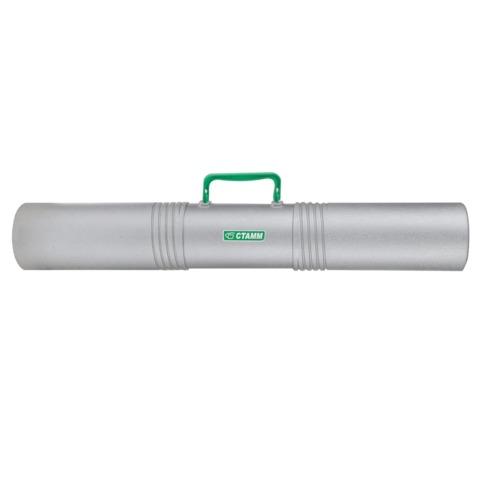 Тубус для чертежей СТАММ 3-х секционный, диаметр 10 см, длина 65 см, серый, с ручкой
