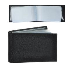 Визитница карманная BEFLER «Грейд» на 40 визитных карт, натуральная кожа, тиснение, черная