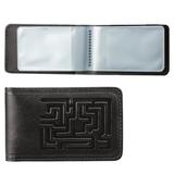 Визитница карманная BEFLER «Лабиринт» на 40 визитных карт, натуральная кожа, тиснение, черная
