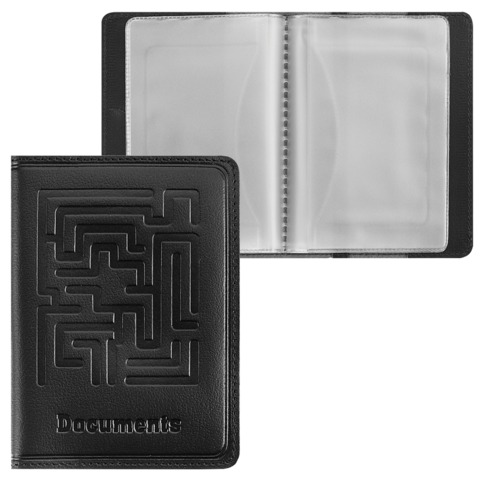 Бумажник водителя BEFLER «Лабиринт», натуральная кожа, тиснение «Documents», 6 пластиковых карманов, черный