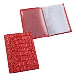 Бумажник водителя BEFLER «Кайман», натуральная кожа, тиснение «крокодил», 6 пластиковых карманов, красный