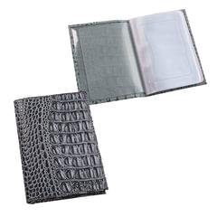 Бумажник водителя BEFLER «Кайман», натуральная кожа, тиснение, 6 пластиковых карманов, серый
