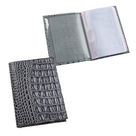 Бумажник водителя BEFLER «Кайман», натуральная кожа, тиснение «крокодил», 6 пластиковых карманов, серый
